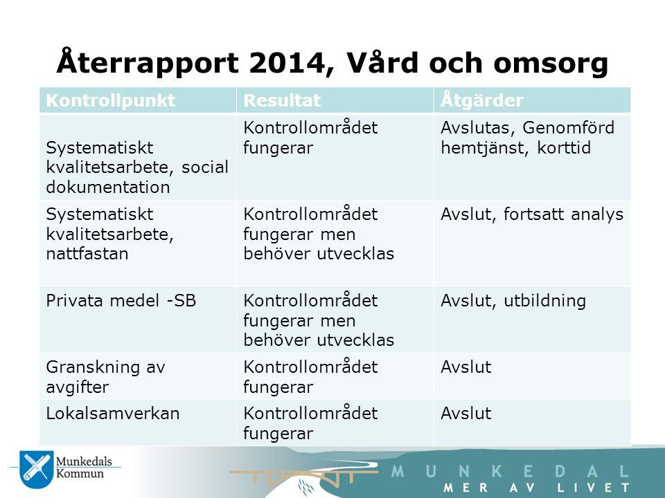 Återrapport 2014, Vård och omsorg