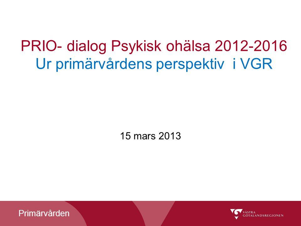 PRIO- dialog Psykisk ohälsa 2012-2016 Ur primärvårdens perspektiv i VGR
