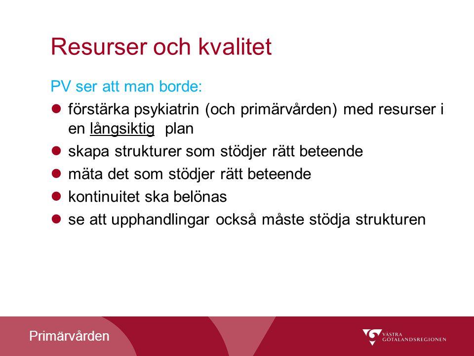 Resurser och kvalitet PV ser att man borde: