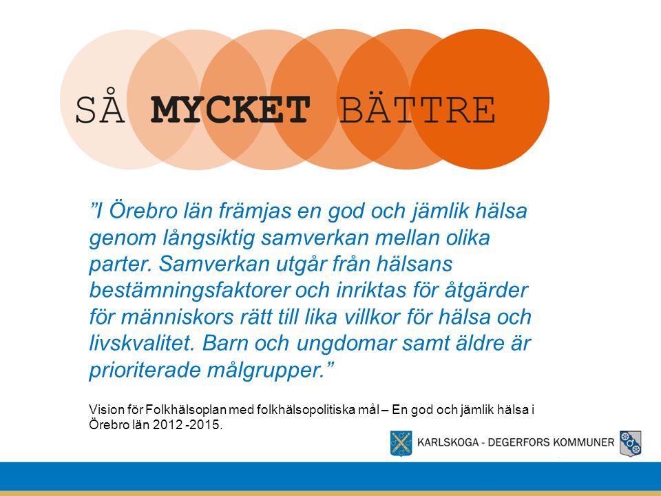 I Örebro län främjas en god och jämlik hälsa genom långsiktig samverkan mellan olika parter. Samverkan utgår från hälsans bestämningsfaktorer och inriktas för åtgärder för människors rätt till lika villkor för hälsa och livskvalitet. Barn och ungdomar samt äldre är prioriterade målgrupper.