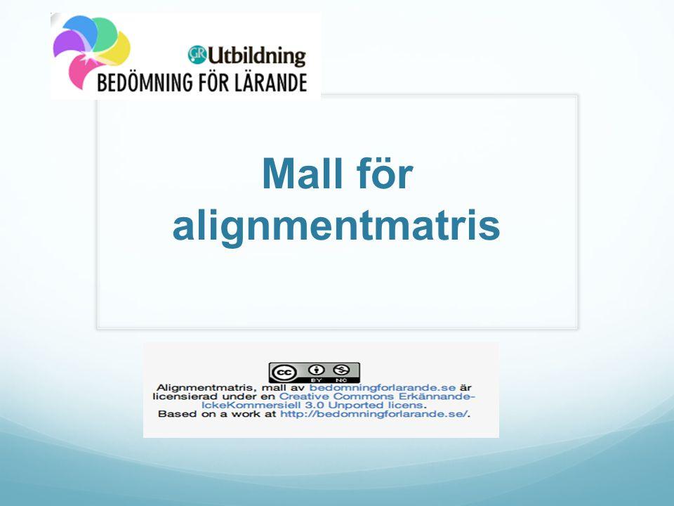 Mall för alignmentmatris