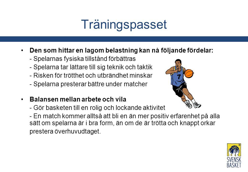 Träningspasset Den som hittar en lagom belastning kan nå följande fördelar: - Spelarnas fysiska tillstånd förbättras.