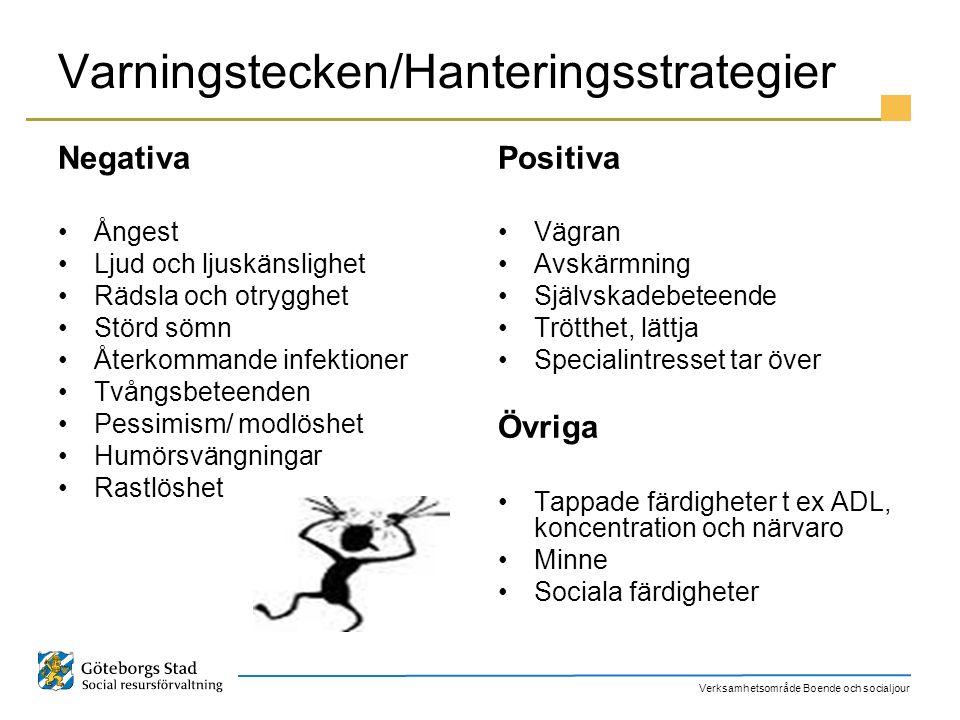 Varningstecken/Hanteringsstrategier