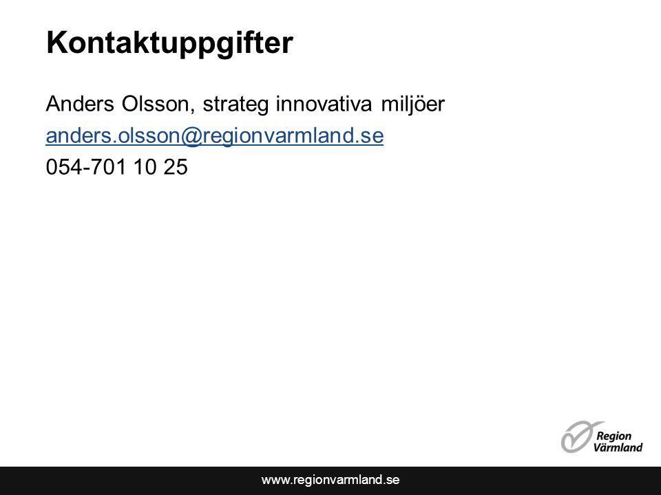 Kontaktuppgifter Anders Olsson, strateg innovativa miljöer