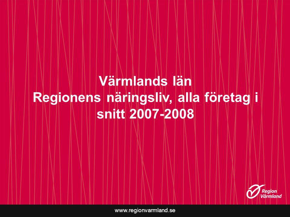 Värmlands län Regionens näringsliv, alla företag i snitt 2007-2008