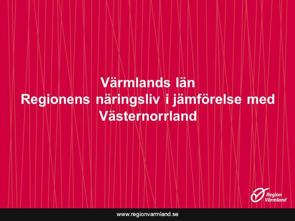 Värmlands län Regionens näringsliv i jämförelse med Västernorrland