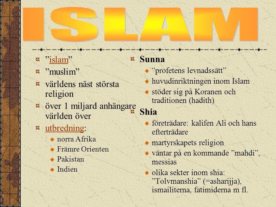 ISLAM islam Sunna muslim världens näst största religion