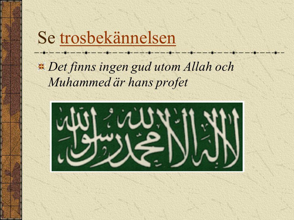 Se trosbekännelsen Det finns ingen gud utom Allah och Muhammed är hans profet
