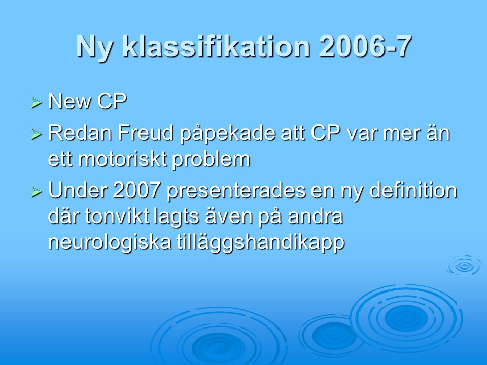 Ny klassifikation 2006-7 New CP