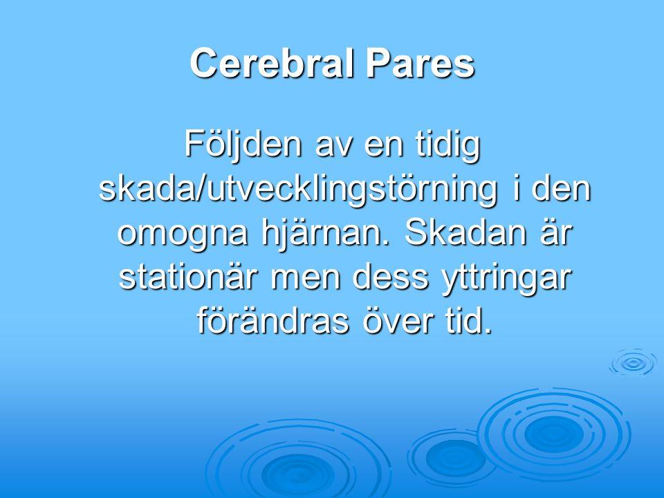 Cerebral Pares Följden av en tidig skada/utvecklingstörning i den omogna hjärnan.