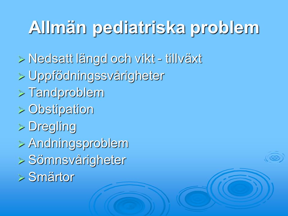 Allmän pediatriska problem