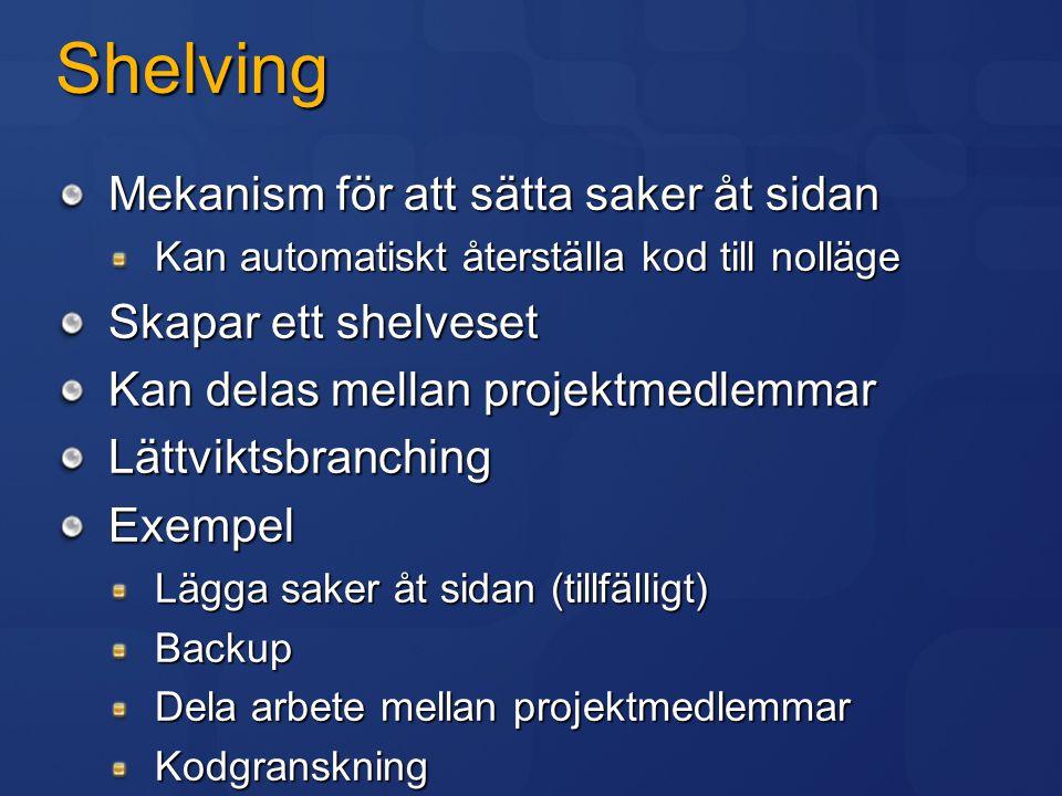 Shelving Mekanism för att sätta saker åt sidan Skapar ett shelveset