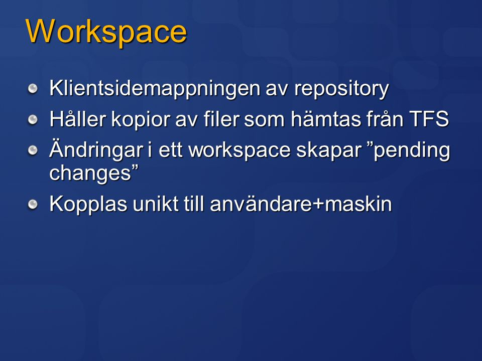 Workspace Klientsidemappningen av repository