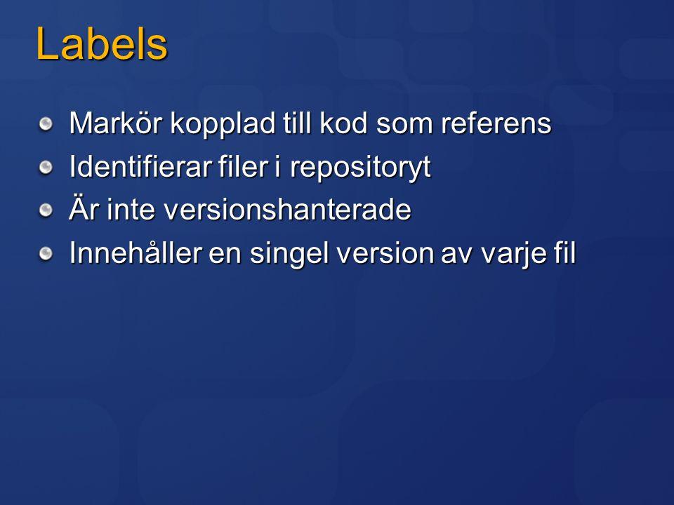 Labels Markör kopplad till kod som referens