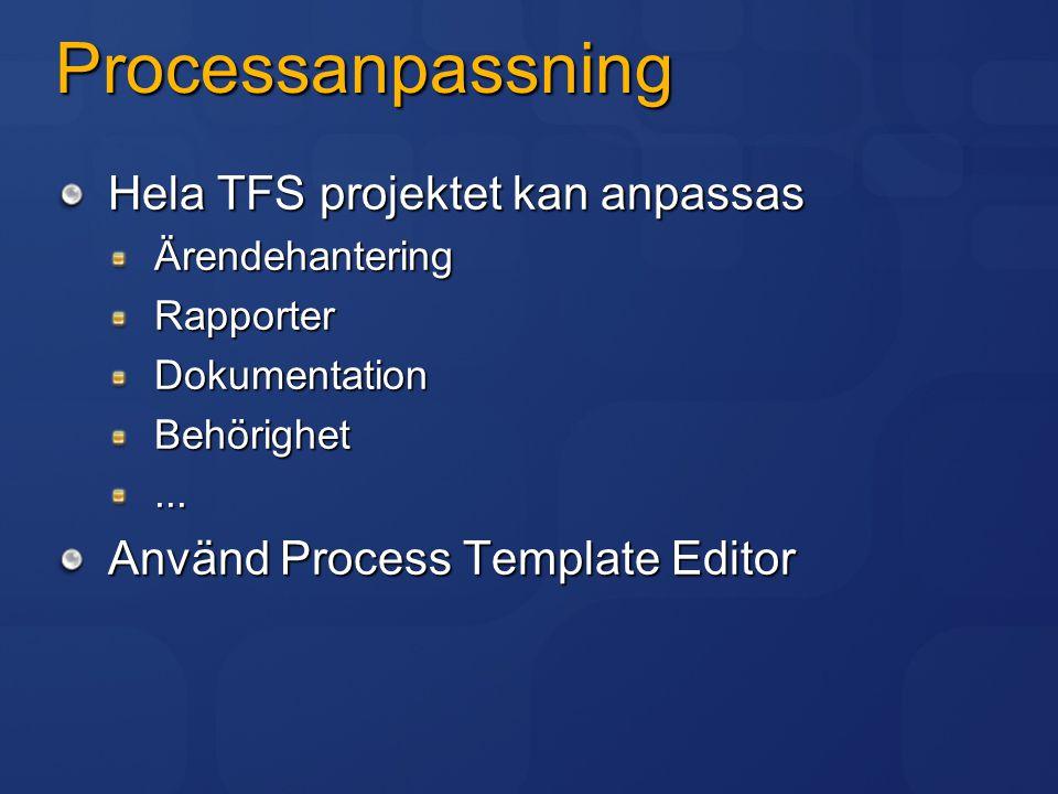 Processanpassning Hela TFS projektet kan anpassas