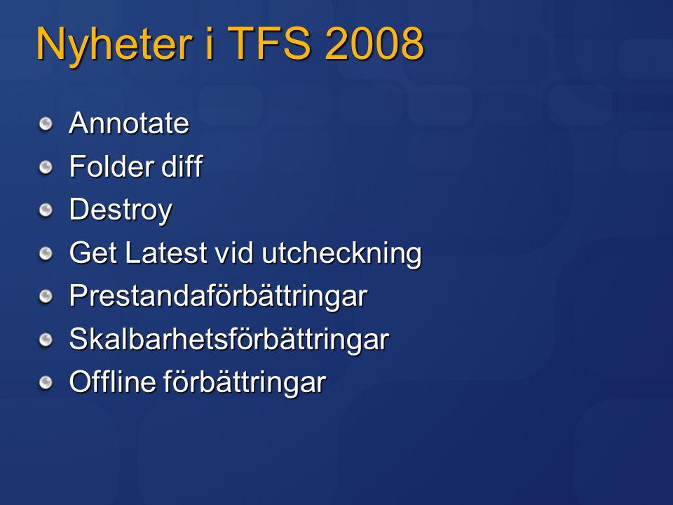 Nyheter i TFS 2008 Annotate Folder diff Destroy