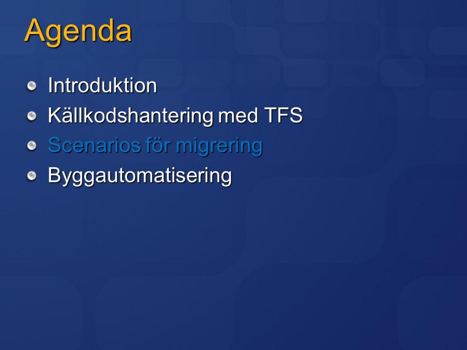 Agenda Introduktion Källkodshantering med TFS Scenarios för migrering