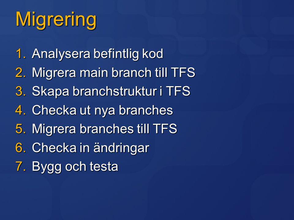 Migrering Analysera befintlig kod Migrera main branch till TFS