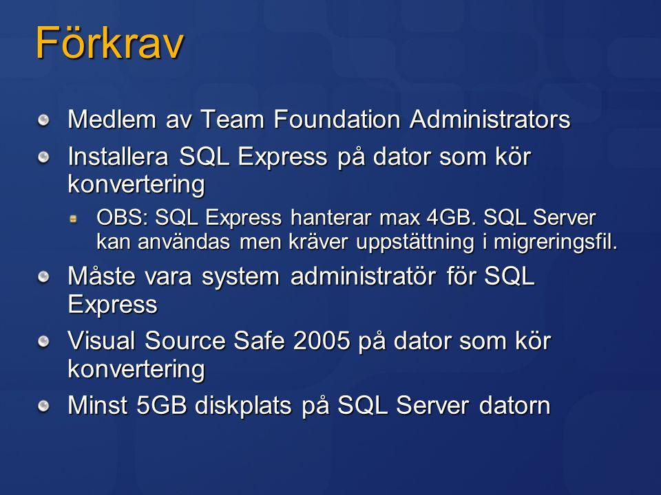 Förkrav Medlem av Team Foundation Administrators