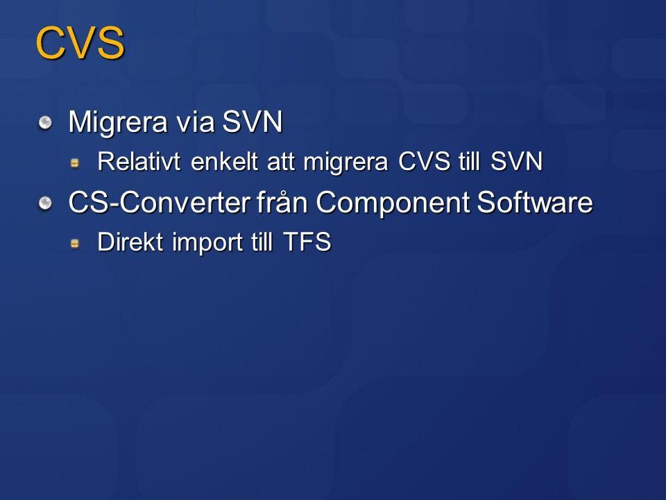 CVS Migrera via SVN CS-Converter från Component Software
