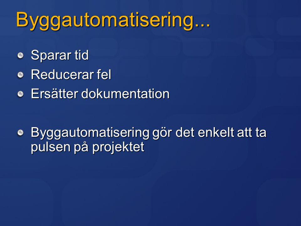 Byggautomatisering... Sparar tid Reducerar fel Ersätter dokumentation