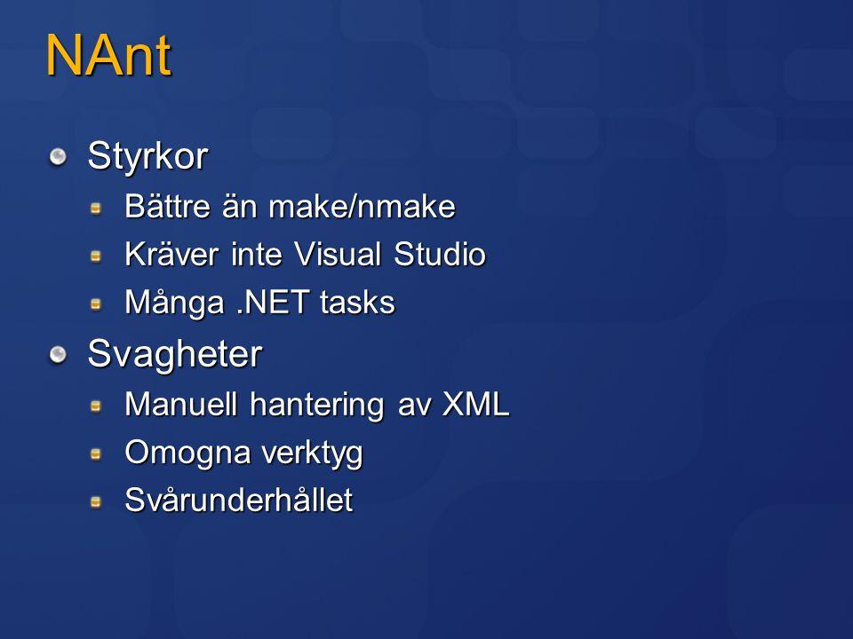 NAnt Styrkor Svagheter Bättre än make/nmake Kräver inte Visual Studio