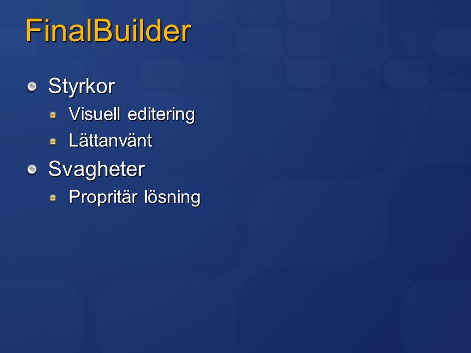 FinalBuilder Styrkor Svagheter Visuell editering Lättanvänt