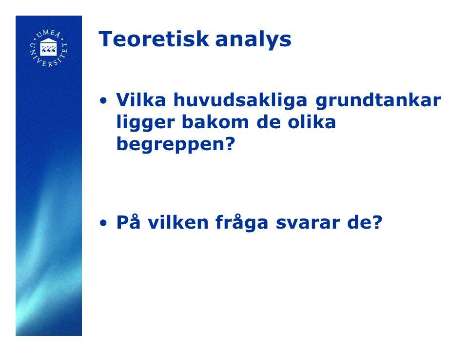 Teoretisk analys Vilka huvudsakliga grundtankar ligger bakom de olika begreppen.