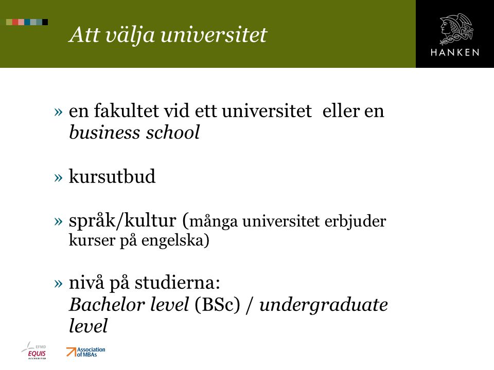 Att välja universitet en fakultet vid ett universitet eller en business school. kursutbud.