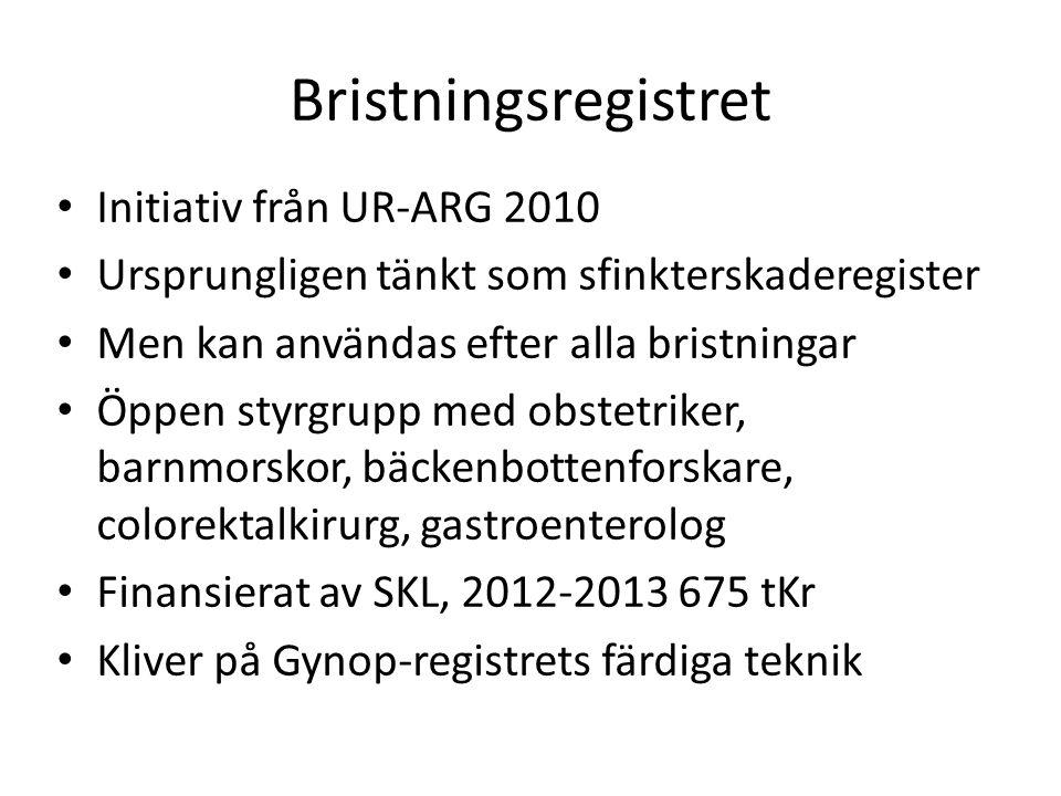 Bristningsregistret Initiativ från UR-ARG 2010