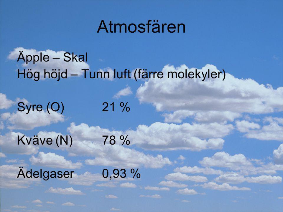 Atmosfären Äpple – Skal Hög höjd – Tunn luft (färre molekyler)