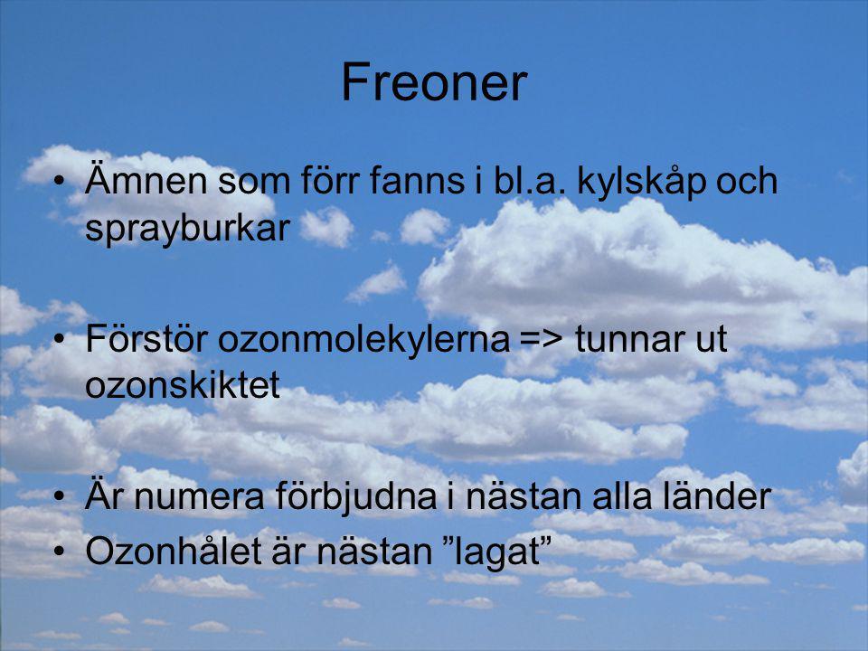 Freoner Ämnen som förr fanns i bl.a. kylskåp och sprayburkar