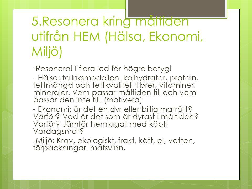 5.Resonera kring måltiden utifrån HEM (Hälsa, Ekonomi, Miljö)