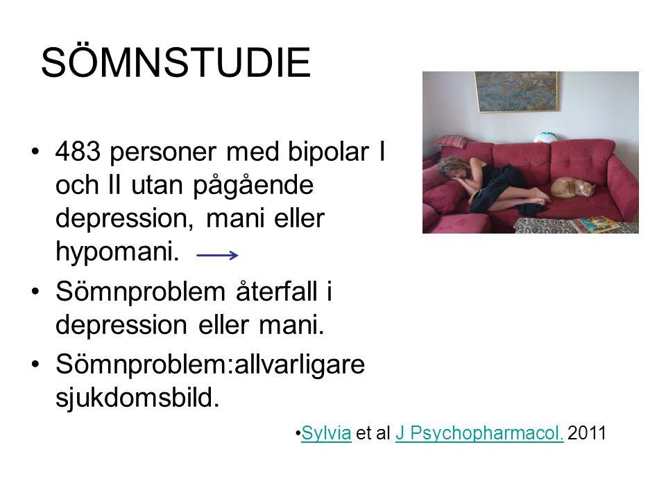 SÖMNSTUDIE 483 personer med bipolar I och II utan pågående depression, mani eller hypomani. Sömnproblem återfall i depression eller mani.