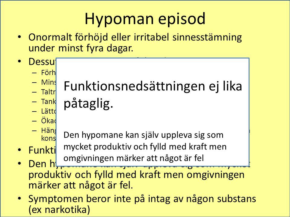 Hypoman episod Funktionsnedsättningen ej lika påtaglig.