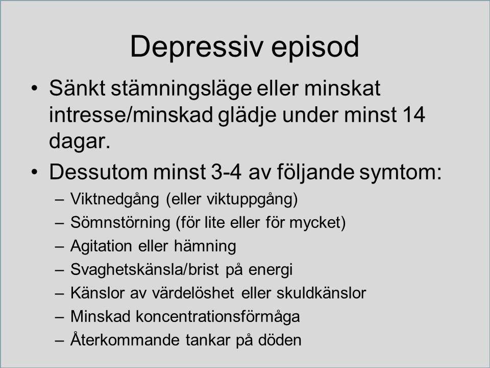 Depressiv episod Sänkt stämningsläge eller minskat intresse/minskad glädje under minst 14 dagar. Dessutom minst 3-4 av följande symtom: