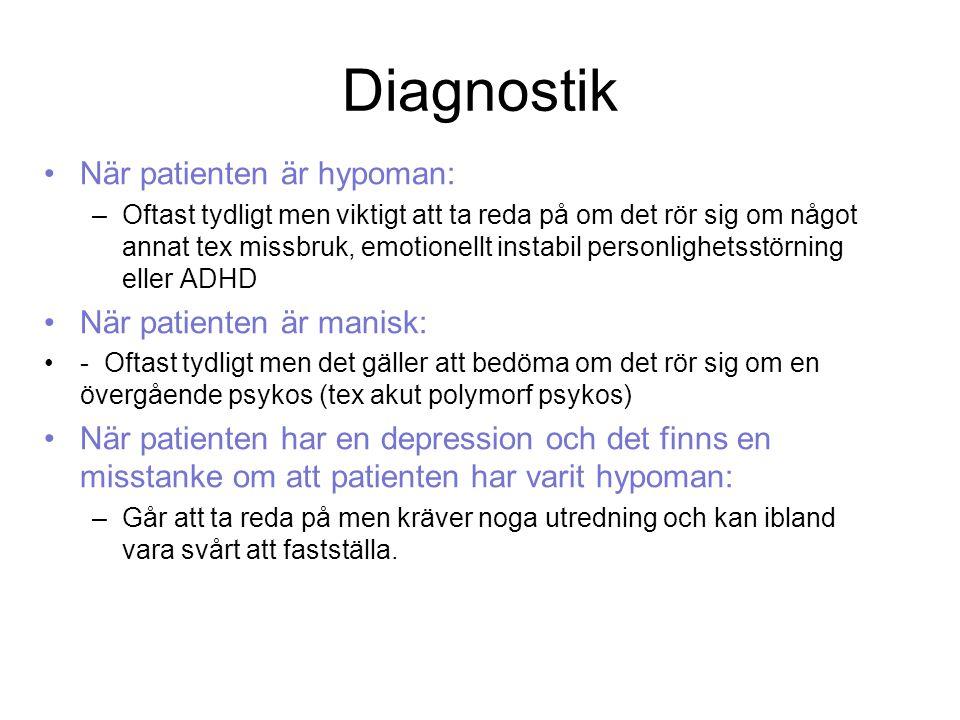 Diagnostik När patienten är hypoman: När patienten är manisk:
