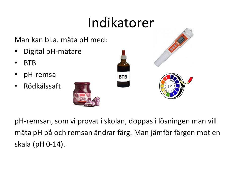 Indikatorer Man kan bl.a. mäta pH med: Digital pH-mätare BTB pH-remsa