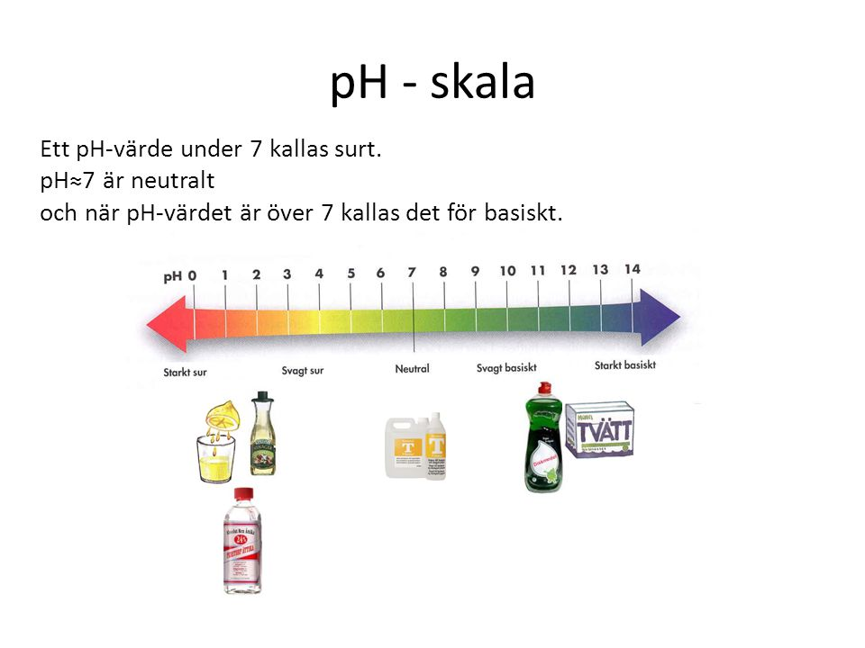 pH - skala Ett pH-värde under 7 kallas surt. pH≈7 är neutralt