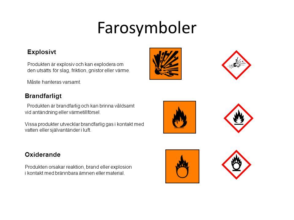 Farosymboler Explosivt. Produkten är explosiv och kan explodera om den utsätts för slag, friktion, gnistor eller värme.