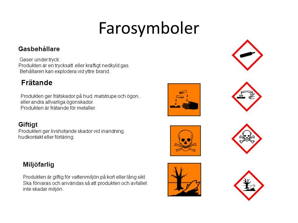 Farosymboler Gasbehållare Giftigt Miljöfarlig Gaser under tryck: