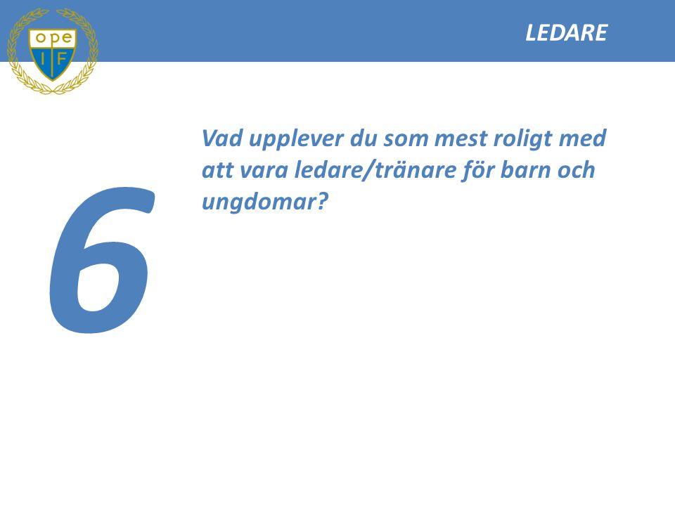 LEDARE 6 Vad upplever du som mest roligt med att vara ledare/tränare för barn och ungdomar