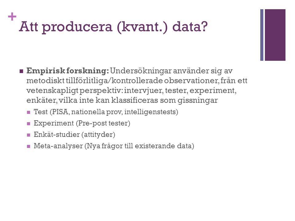 Att producera (kvant.) data