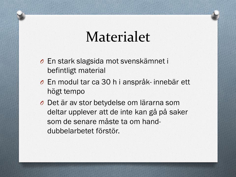 Materialet En stark slagsida mot svenskämnet i befintligt material