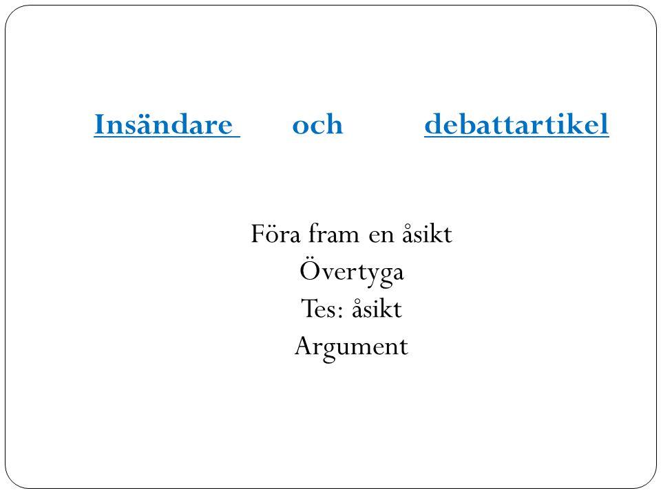 Insändare och debattartikel Föra fram en åsikt Övertyga Tes: åsikt Argument