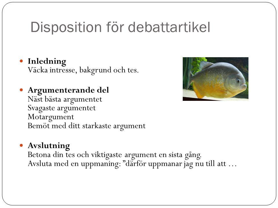 Disposition för debattartikel