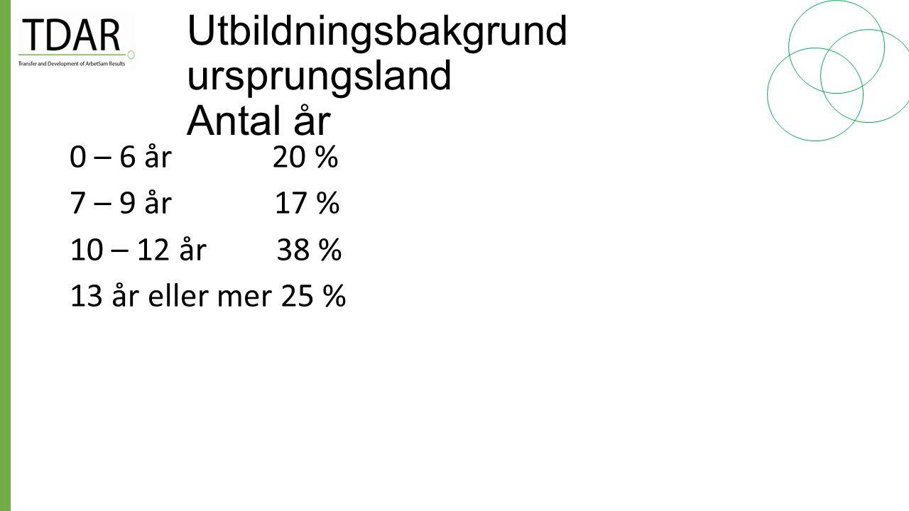 Utbildningsbakgrund ursprungsland Antal år