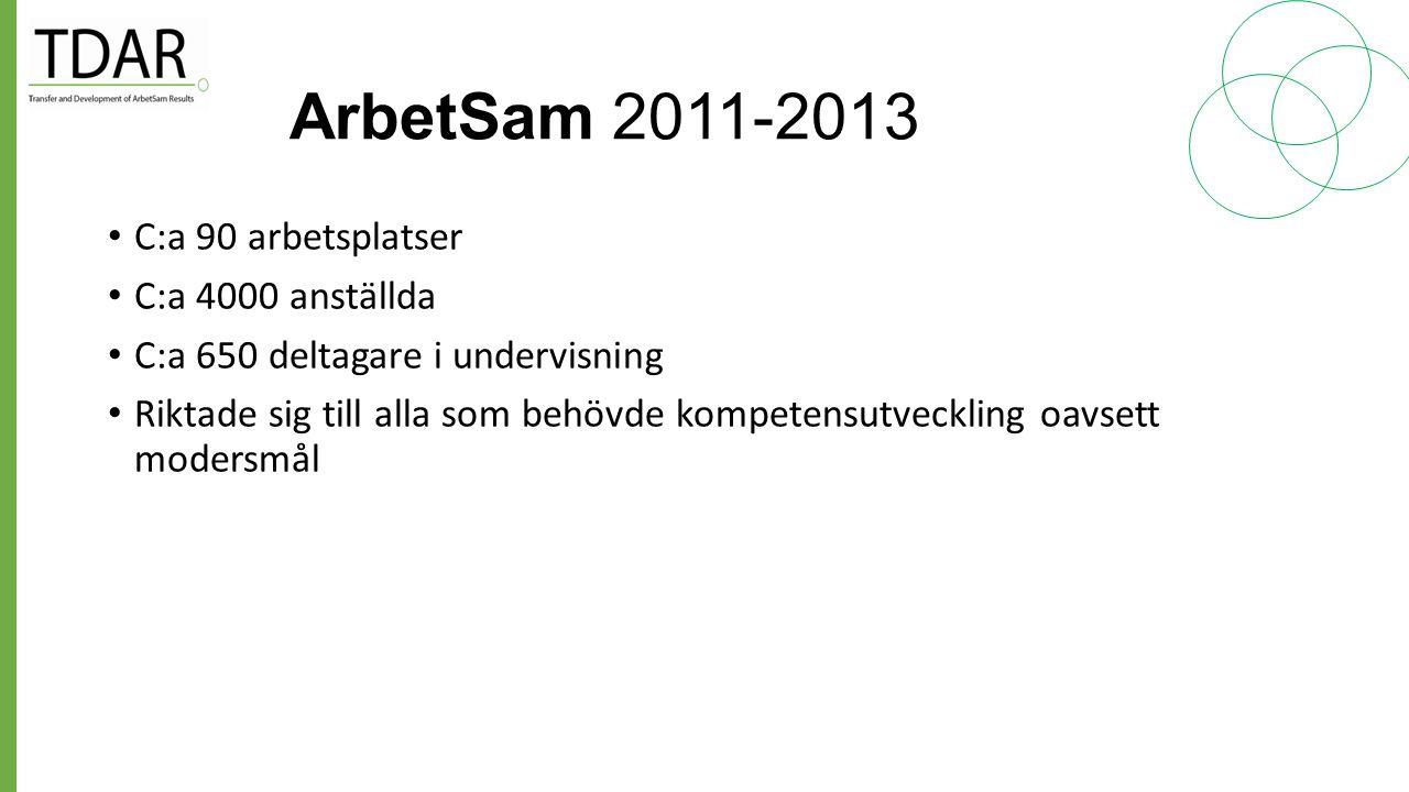 ArbetSam 2011-2013 C:a 90 arbetsplatser C:a 4000 anställda
