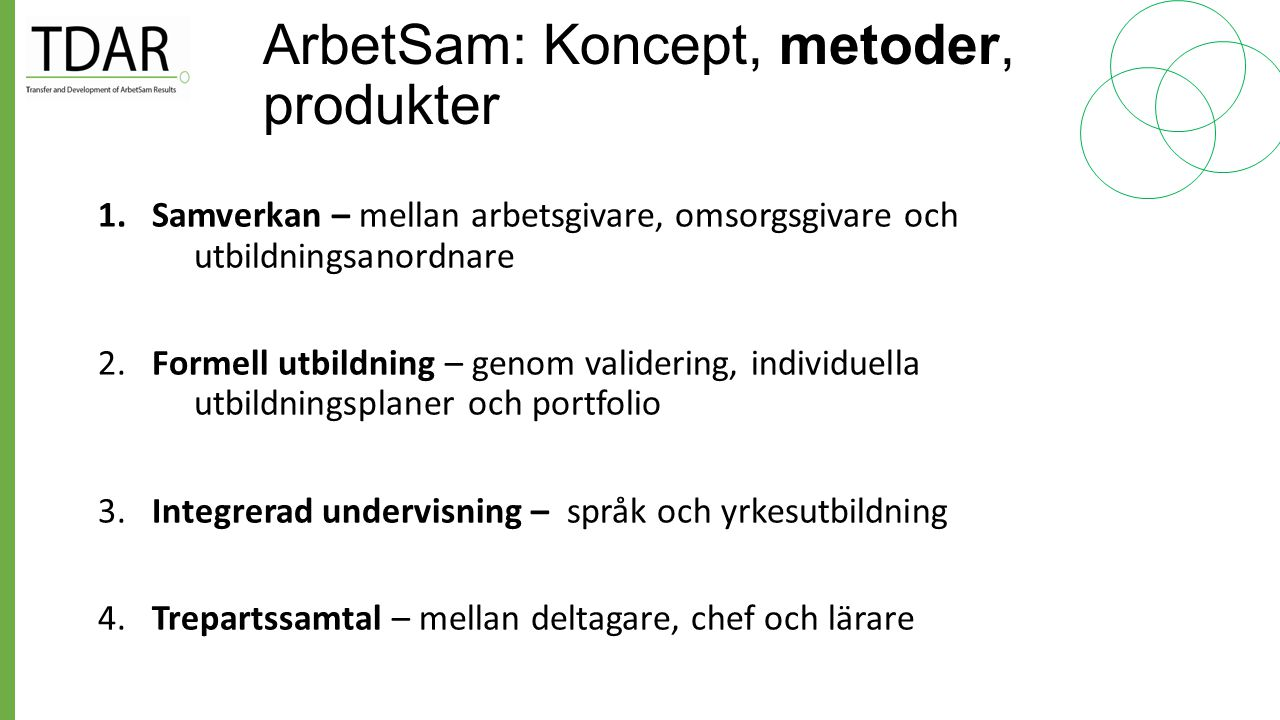 ArbetSam: Koncept, metoder, produkter