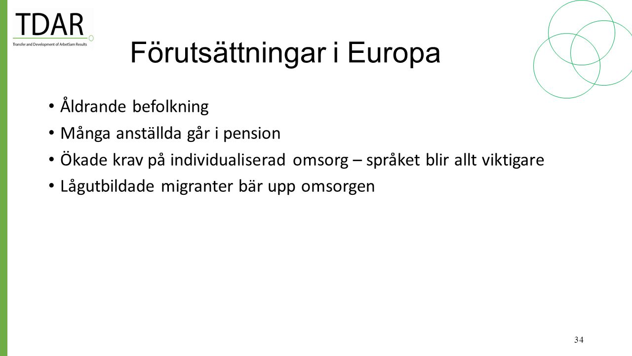 Förutsättningar i Europa